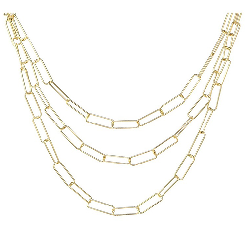 Chain link triple layer necklace