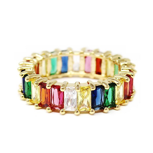 Emerald cut rainbow CZ eternity band