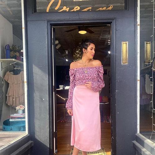 Blush Pink Satin Midi Skirt