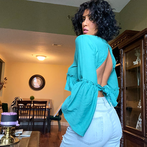 Teal Open back top