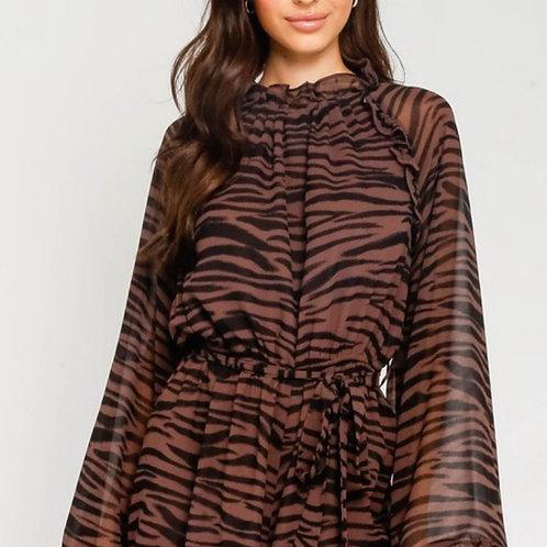 Brown zebra print romper