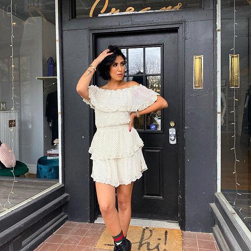 Cream Polka Dot Ruffle Dress