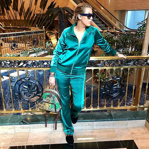 Emerald Satin Pants