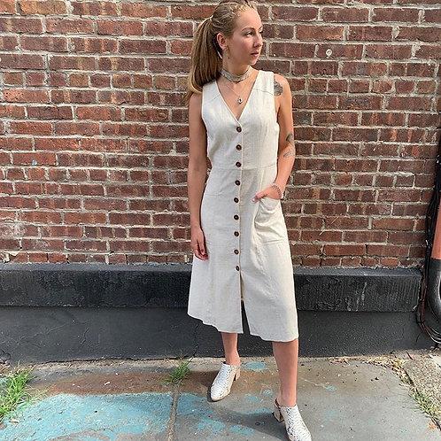 Oatmeal Button Midi Dress