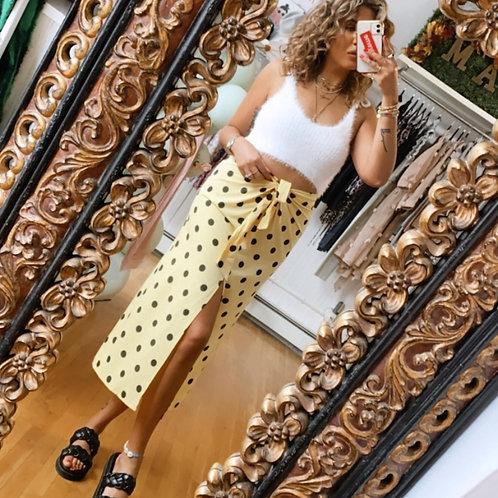 Tie front polka dot midi skirt