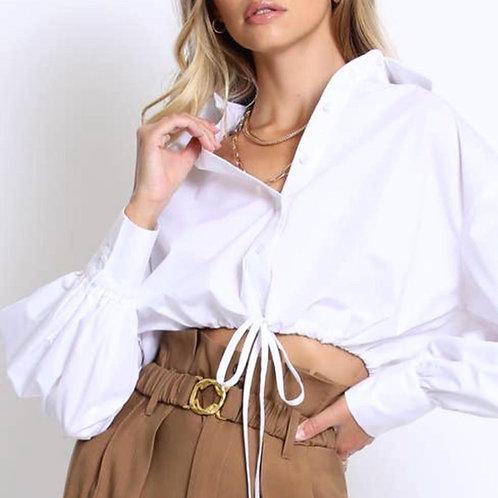 Poplin drawstring blouse