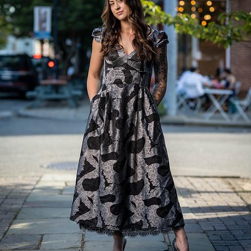 Monique Lhuillier lace trimmed gown