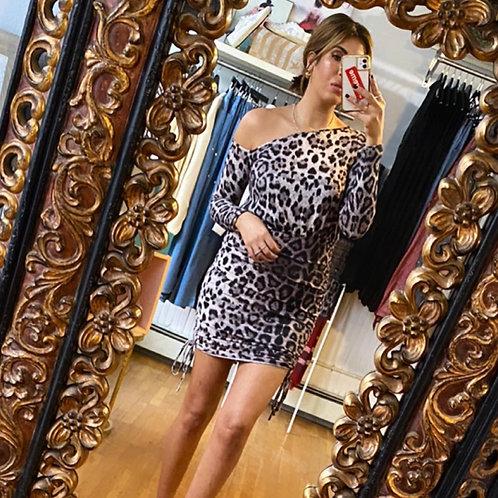 Leopard off shoulder dress