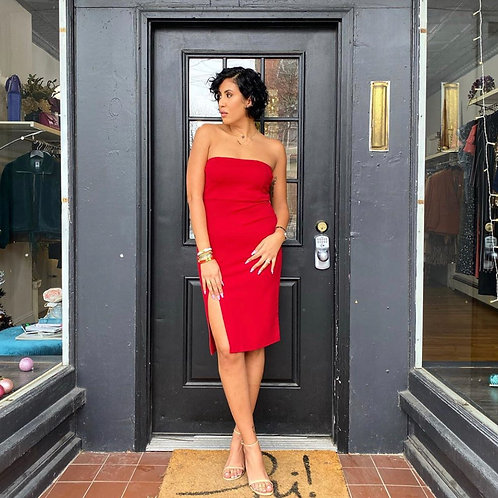 Red Strapless Bodycon Dress