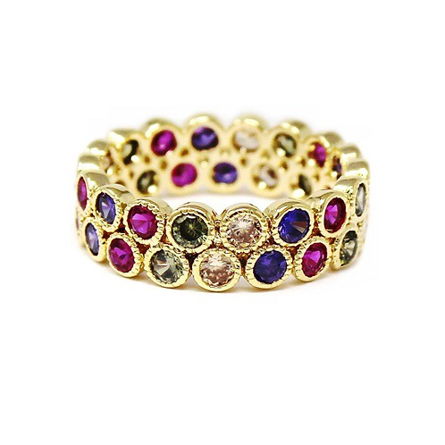 Multicolor CZ pave double row ring