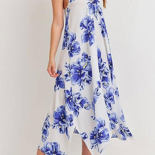 Asymmetrical hem floral print dress