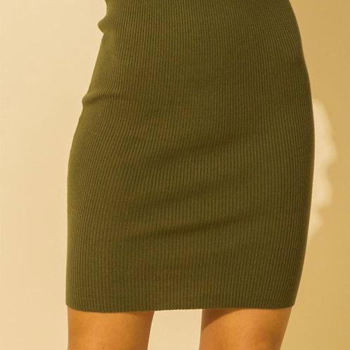 Knit high waisted skirt