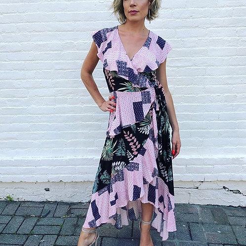 Multi Pattern Wrap Dress
