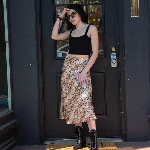 Snakeskin Satin Midi Skirt