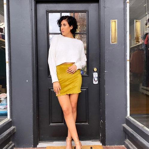 Chartreuse Velvet Mini Skirt