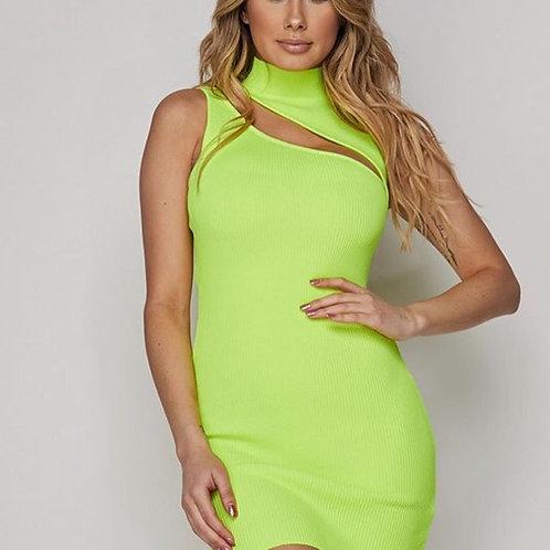 Neon Green Ribbed Mini Dress