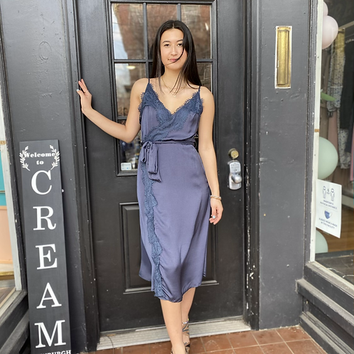 Lace trimmed midi wrap dress