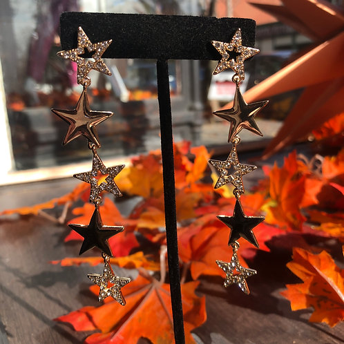 Sparkly Gold Star Drop Earring