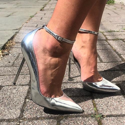 Monika Chiang Patent Silver Stillettos
