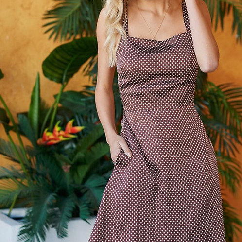 Mocha polka dots dress