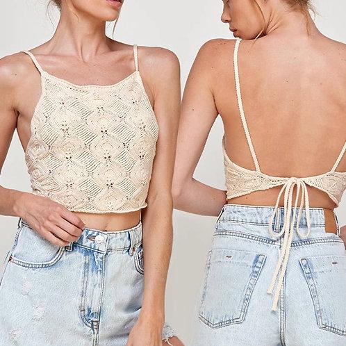 Back tie crochet top