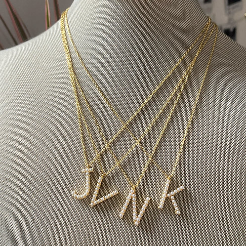 Dainty Initial Pearl Necklaces