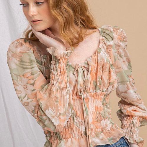 Smocked floral top