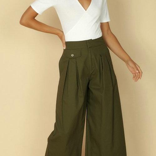 Olive wide leg culottes