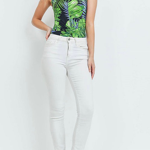Tropical print bodysuit with side wrap