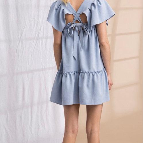 Back tie baby doll dress