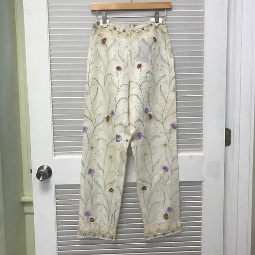 Chetta B Silk Beaded Floral Pants