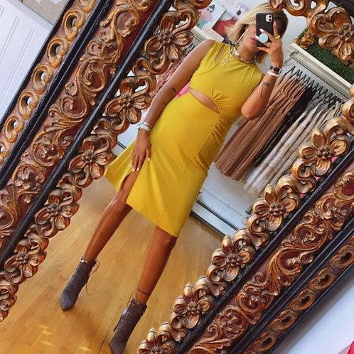 Cutout Yellow Dress