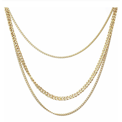 Triple strand layer necklace