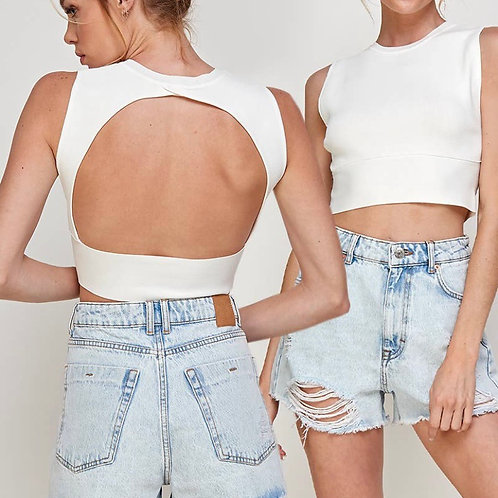 Open back sleeveless top