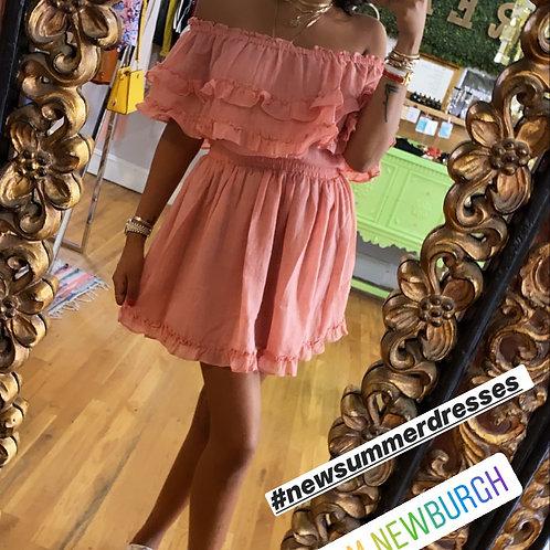 Off shoulder peach dress