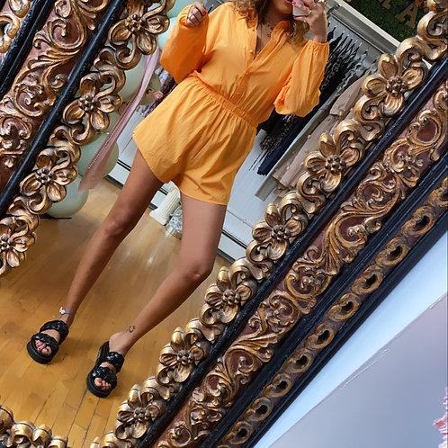Orange Button up Romper