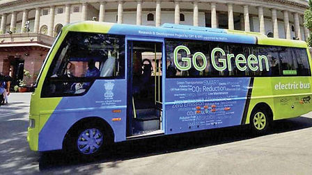 Electric busses as public transport in capital City Delhi; pic credits:https://www.dnaindia.com/