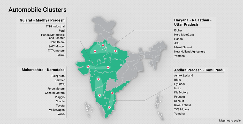 Automobile clusters in India;pic credits:https://www.investindia.gov.in/