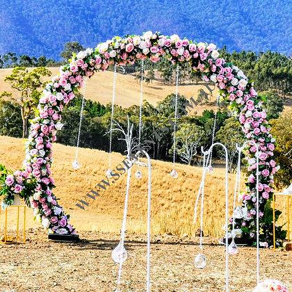 Pink Flower Round Arch Backdrop