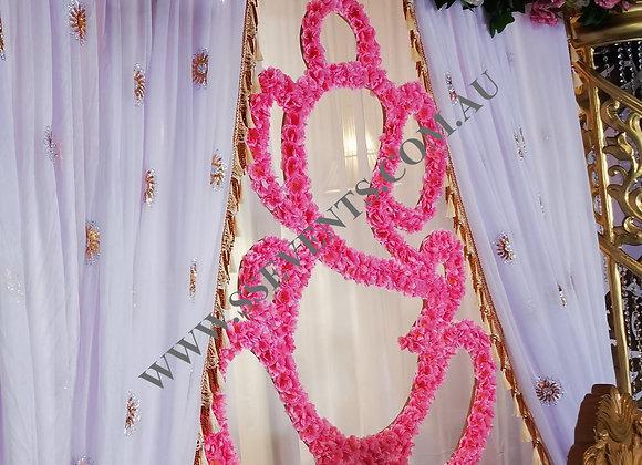 Pink Flower Ganesha Symbol - Medium