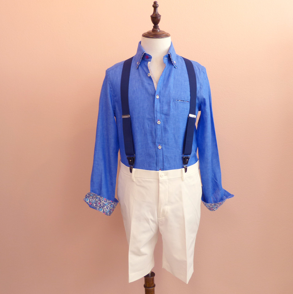 SRT003_Blue flower detailing shirts