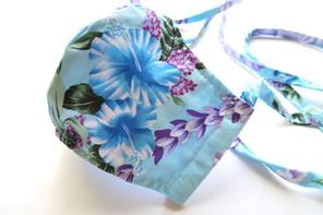 Mint Color Floral Hawaiian Print Fabric Mask
