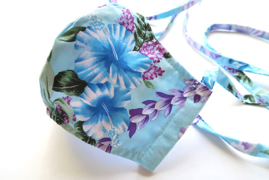 Mint Color Floral Hawaiian Print Fabric Mask