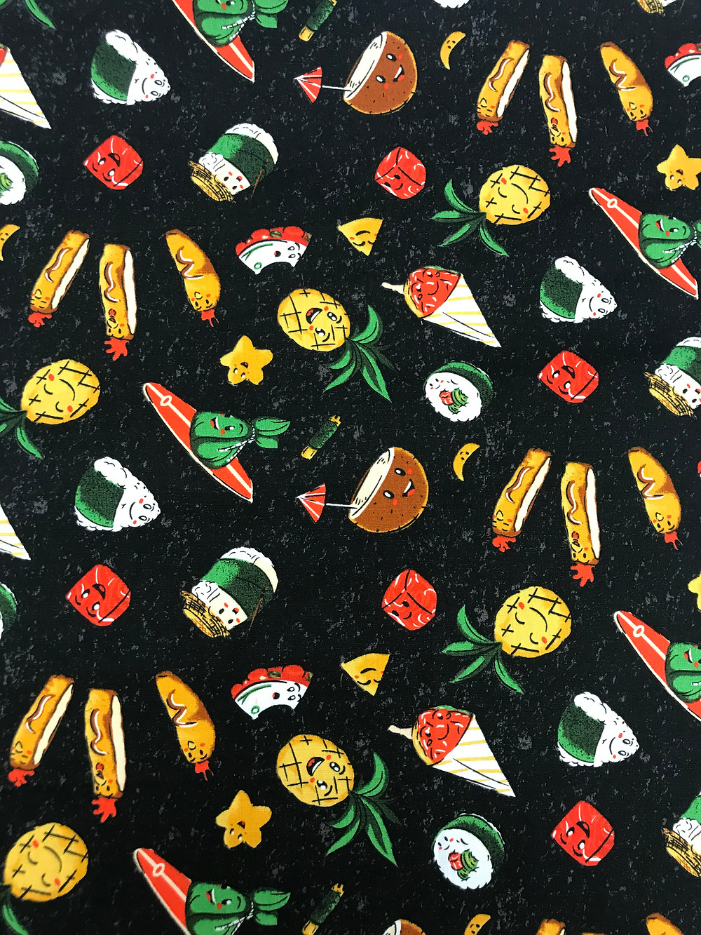 Hawaiian food print fabric black