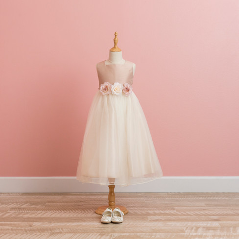 Beige pink girl's dress
