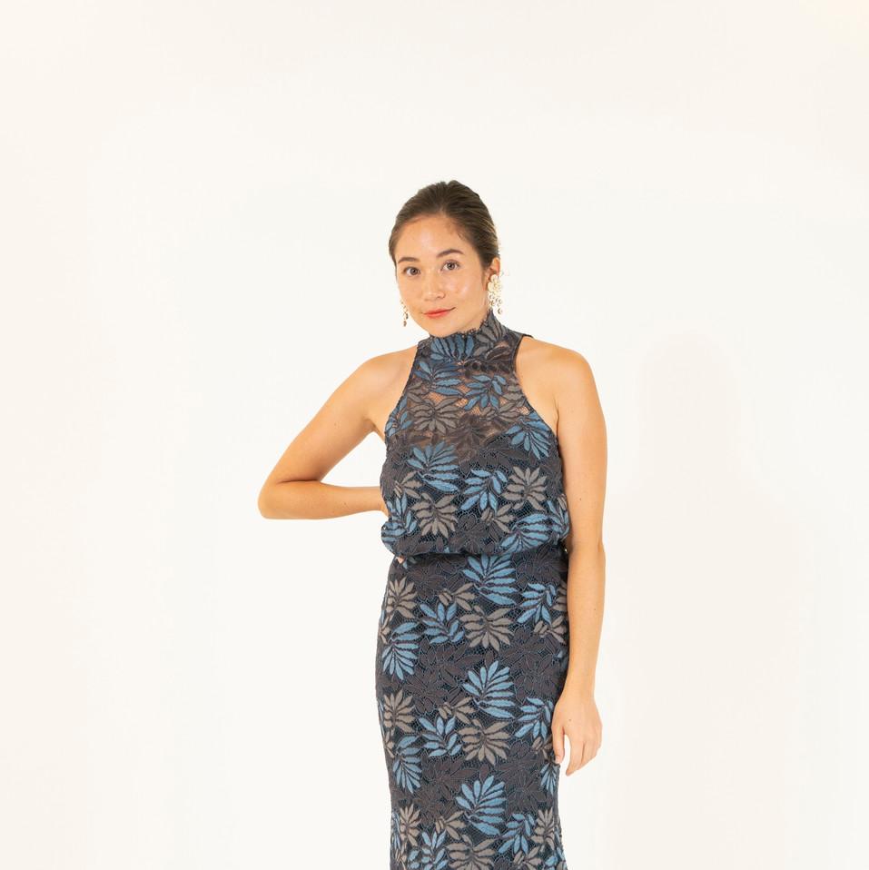 Black Leafy Lace Dress