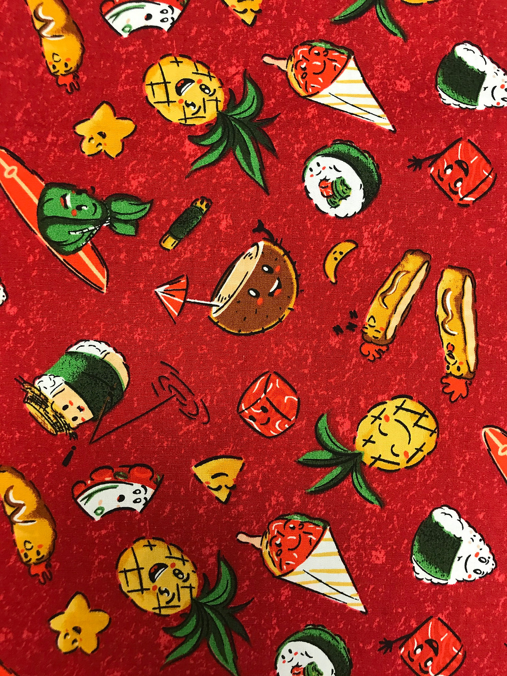Hawaiian food print fabric red