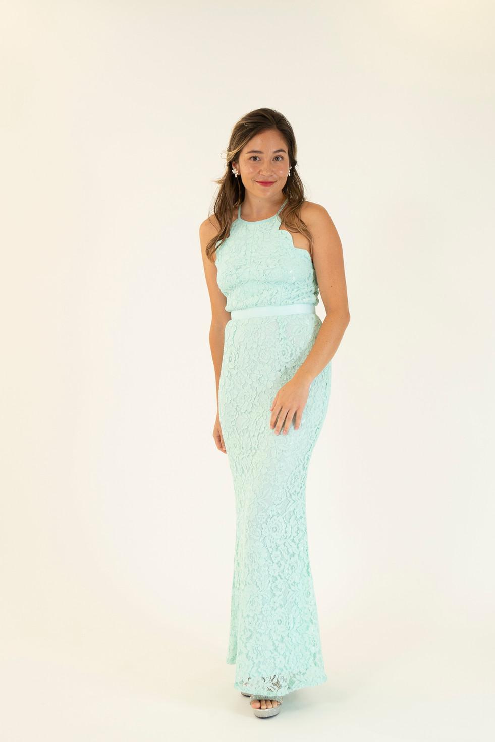 Mint Lace Scalloped Neck Dress