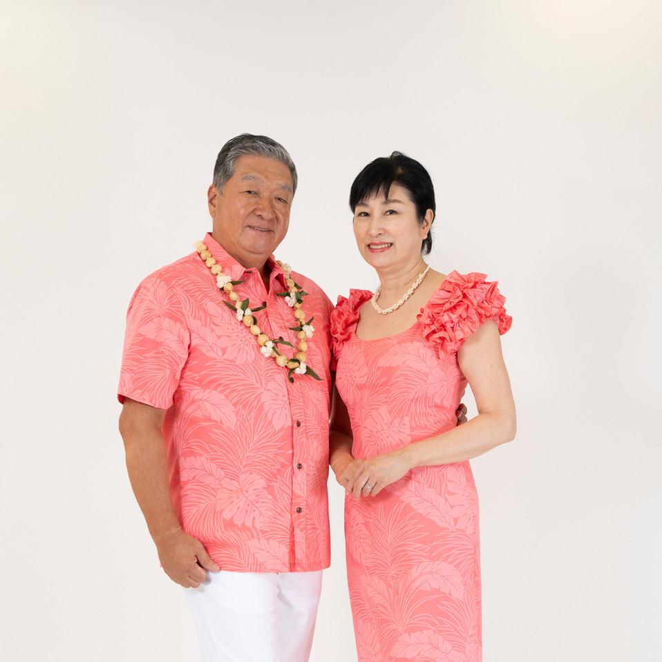 Peach color monstera dress and shirt