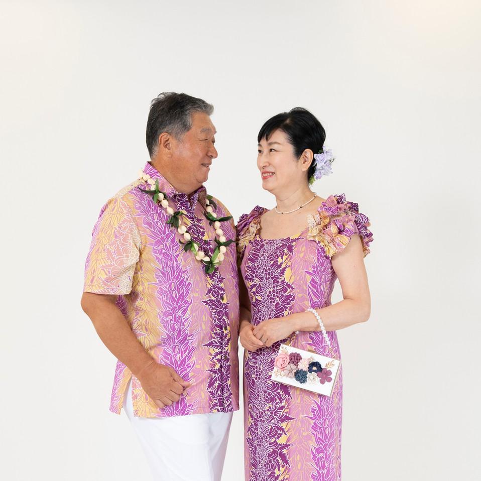 Purple lei print dress and shirt